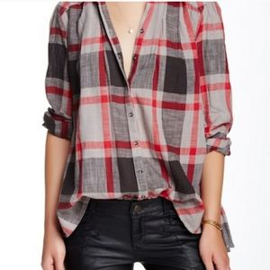 FREE PEOPLE | Gray & Red Peppy In Plaid Tunic | S